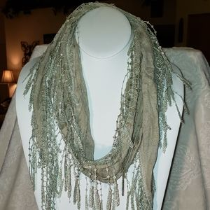 Accessories - Tapered Green Lace Fabric Scarf